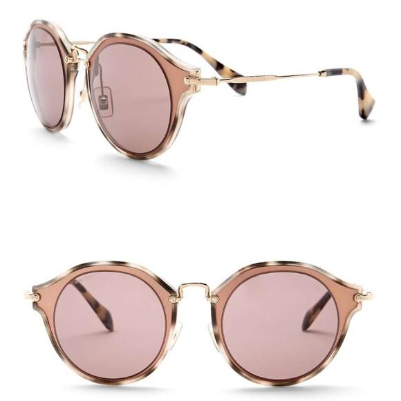 1d444f13f857 MIU MIU Matte Pink Round Sunglasses MU 51 SS